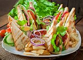 pic of tomato sandwich  - Club sandwich with cheese - JPG