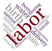 stock photo of birth  - Labor and birth word cloud on a white background - JPG