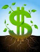 picture of bine  - Stylized plant in shape of dollar sign in ground - JPG
