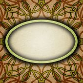 image of celtic  - Old brown and green paper with celtic pattern - JPG
