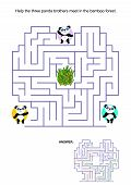 stock photo of panda  - Maze game for kids - JPG