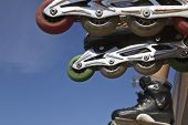 picture of inline skating  - inline skates close up in skate park - JPG