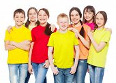 picture of friendship  - Happy group children isolated at white background - JPG