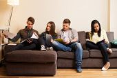 stock photo of exams  - Group of students preparing for exams in apartment interior  - JPG