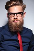 pic of long beard  - Close up picture of a long beard business man on grey studio background - JPG