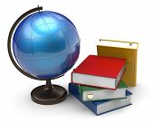 foto of geography  - Books and globe blank international global geography knowledge studying wisdom literature icon concept - JPG
