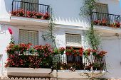 stock photo of wrought iron  - Pretty wrought iron balconies with flowers in the old town Marbella Costa del Sol Malaga Province Andalusia Spain Western Europe - JPG