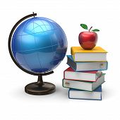 image of geography  - Books globe and apple blank international global geography wisdom literature icon study knowledge symbol concept - JPG