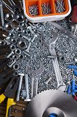 stock photo of triplets  - Still life with constructor tools - JPG