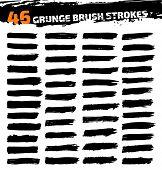 stock photo of stroking  - Set of black different grunge brush strokes - JPG