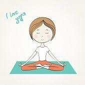 picture of surya  - Vector illustration Girl does yoga exercises - JPG