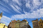 picture of row houses  - Row houses on blue sky background in Prague  - JPG