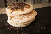 picture of maple syrup  - pancakes with honey and maple syrup with chocolate sprinkles - JPG