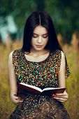 image of meadows  - Artistic portrait of young gorgeous brunette on green meadow with book - JPG