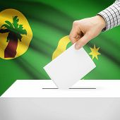 picture of coco  - Ballot box with national flag on background series  - JPG