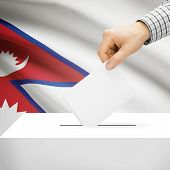 pic of nepali  - Ballot box with national flag on background series  - JPG