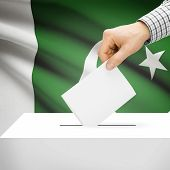 pic of pakistani flag  - Ballot box with national flag on background series  - JPG