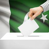 stock photo of pakistani flag  - Ballot box with national flag on background series  - JPG
