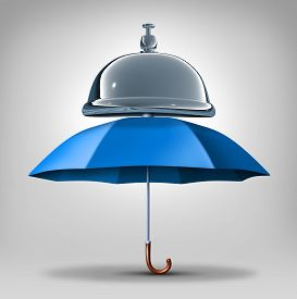 stock photo of blue-bell  - Protection services concept as a blue umbrella with a service bell as a symbol and icon for providing safety and security assistance as health benefits or business guarantees - JPG