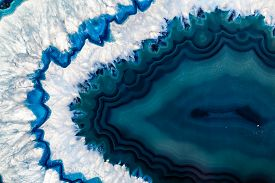 picture of agate  - Cross section of a blue Brazilian geode commonly called Thunder Eggs or blue agate crystal - JPG