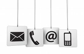 stock photo of blog icon  - Web contact us Internet concept with email mobile phone and at icon and symbol on four hanged tags for website blog and on line business - JPG