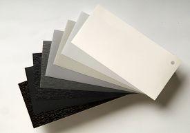 foto of semi-circle  - sample gray shades for paint and varnish - JPG