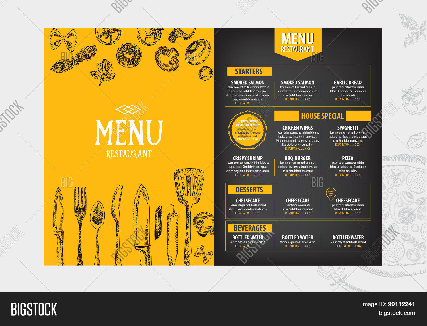 Cafe menu restaurant brochure Food design template Vector – Restarunt Brochure