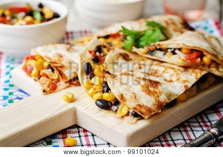 Black Beans Tomato Corn Quesadilla.