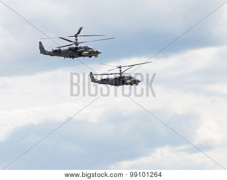 Two Military Helicopters Ka-52