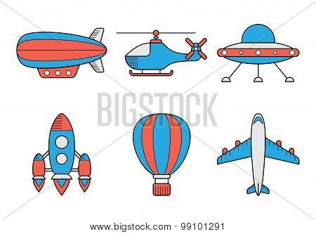 Icon Set Of Aero Vehicles. Helicopter Plane Ufo Dirigible Aerostat Rocket. Line Style
