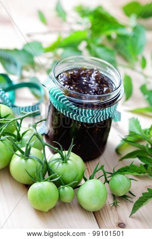 homemade green tomatoes jam - fruits and vegetables
