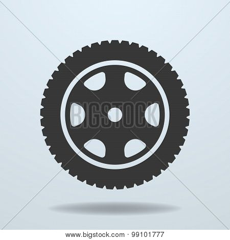 Car Wheel Icon. Car Tire, Rim.