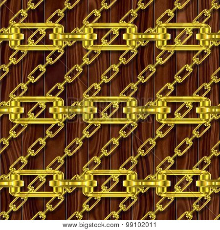 Iron Chains with Wood Seamless Generated Texture