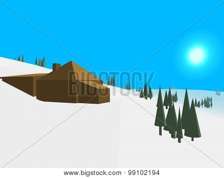 Low Poly Retro Style Frozen Land