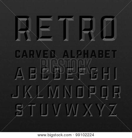 Black retro style carved alphabet. Vector.