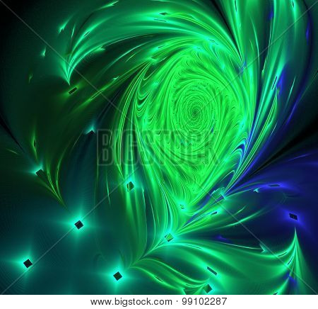 Abstract Image Of A Peacock Feather On Black Computer Generated Background