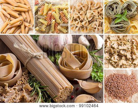 Collage Of Whole Wheat Italian Pasta