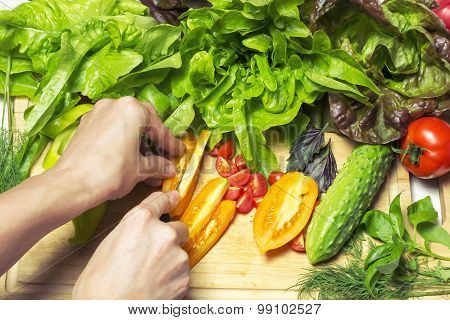 Fresh Tasty Vegetables For Cooking. With The Presence Of Human Hands .