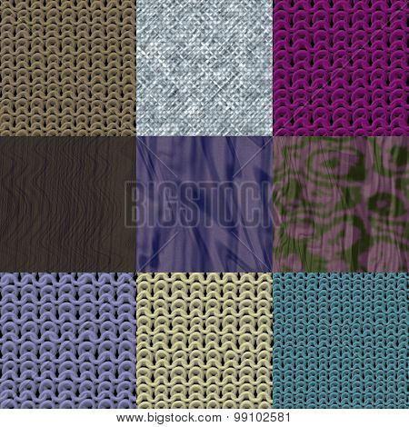 Set of Fabric Knit Seamless Generated Textures