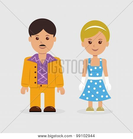 Man and woman in retro style dress
