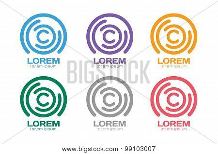 Vector C letter logo. Circle ring logo design. Abstract flow