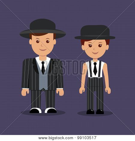 Man and woman in gangster costumes