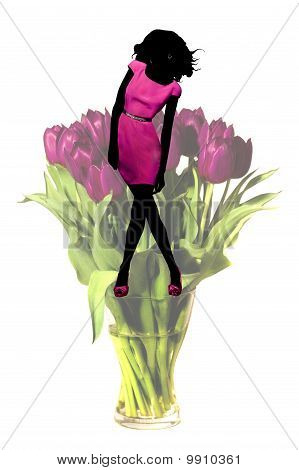Stylish Lady on Vase Standing Silhouette