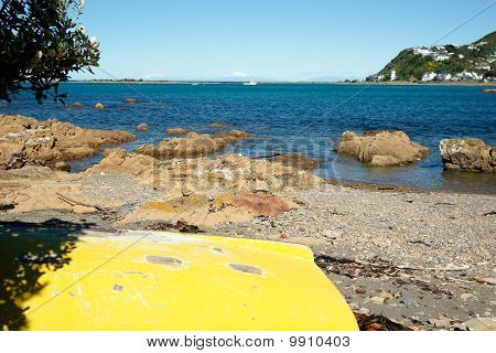 Yellow Upturned Dingy On Beach At Island Bay New Zealand.