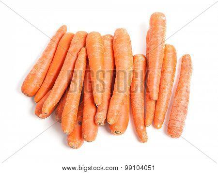 Many carrots isolated on white background