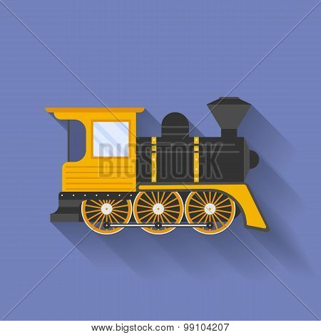 Icon Of Steam Locomotive Or Puffer. Flat Style