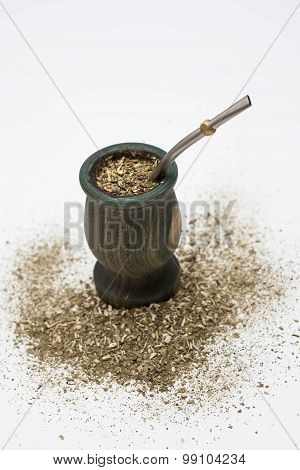Yerba mate with bombilla
