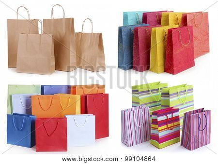 Paper shopping bags isolated on white