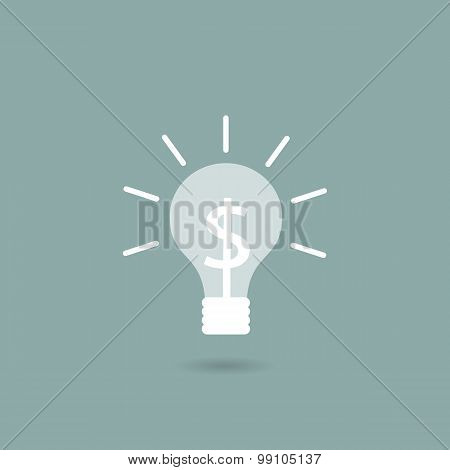 Light bulb with a dollar sign