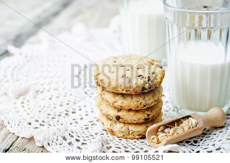 Oatmeal Cookies With Sunflower Seeds And Chocolate Drops